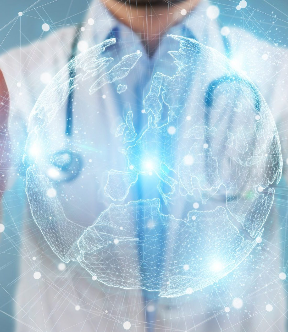 Doctor on blurred background using Europe map globe network hologram 3D rendering